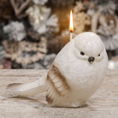 Natural Bird Shaped Candle Winter Woodland Christmas Decoration